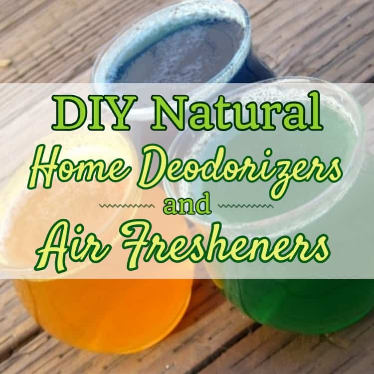 "the featured image of the blog title ""DIY Natural Home Deodorizers and Air Fresheners"" with a background of three round glass cups with colorful liquids inside"
